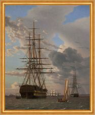 The Russian Ship of the Line Asow at Anchor Eckersberg Schiff Meer B A2 01169