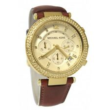 Michael Kors Authentic Watch MK2249 Gold Dial Brown Leather Band Women's 39mm