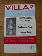20/03/1967 à aston villa: nottingham forest v swindon town [fa cup 2nd replay]
