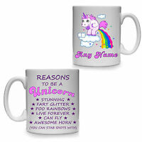 REASONS TO BE A UNICORN PERSONALISED GIFT MUG CUP RAINBOW POO STAB IDIOTS HORN