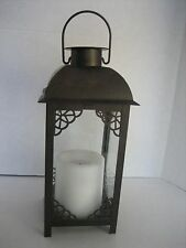Inglow Flameless Candles Decorative Brown Metal/Glass Flameless Candle Lantern