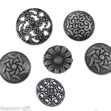 50Mixed Silver Tone Carved Sewing Metal Buttons 17-23mm
