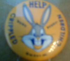 "BUGS BUNNY 1 1/4""  Help Crippled Children Pinback, Repr"