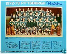 1972 PITTSBURGH PENGUINS NHL HOCKEY TEAM 8x10 PHOTO
