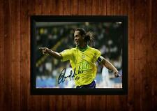 RONALDINHO SIGNED FRAMED PP A4 PRINT FOOTBALL SOCCER GIFT IDEAS VINTAGE