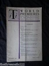 INTERNATIONAL THEATRE INSTITUTE WORLD PREMIER - OCT 1953 VOL 5 #1