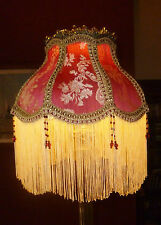 MADAME BELLA  A VICTORIAN DOWNTON BEADED LAMPSHADE. WINE RED & GOLD BROCADE 12""