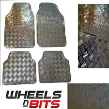 Wheels N Bits 4pc Flexible Silver look checker plate car mats
