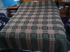 WELSH TAPESTRY WOOL BLANKET REVERSIBLE DOUBLE SIDED GREEN RED BLACK PINK