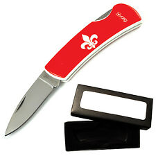 Blade Candy Fluer de lis White on Red Lock Back Pocket Knife