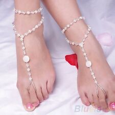 Double Chains Pearl Beads Barefoot Sandals Wedding Anklet Toe Foot Jewelry 2 PCS