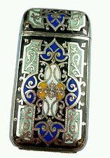 Antique French Silverplate Enamel Brass Match Safe Vesta Case