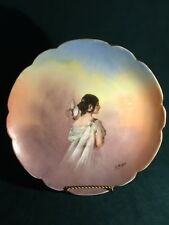 Gorgeous Vintage L.R.L. Limoges Portrait Porcelain Plate / Charger Signed