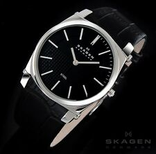 SKAGEN MEN'S CLASSIC BLACK LEATHER ULTRA SLIM WATCH 859LSLB
