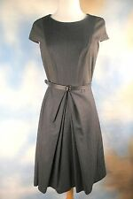 NEW $435 WEEKEND MAX MARA gray charcoal pinstripe belted sheath shift dress 4