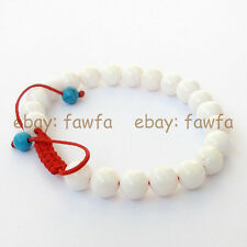 New 8mm Natural white jade Tibet Buddhist Prayer Beads Mala Bracelet