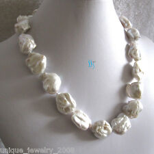 "20"" 17-24mm White Ding Mussels Nuclear Freshwater Pearl Necklace"