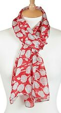 Quintessential 100% Pure Silk Luxury Scarf Printed In Rose Red (33x170cm)
