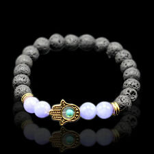 1 String Women Tigers Eye Lava Stone Beads Bracelet Gray&White Beads Jewellery