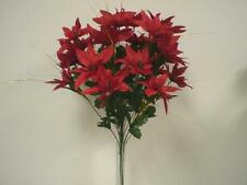 "RED Christmas Poinsettia Bush Artificial Silk Flower 24"" Bouquet 24-030RD"