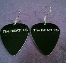 "Guitar Pick Earrings ""The Beatles"" Plain Logo white on black"