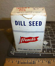 Vintage Frenchs Dill Seed 1 1/2 oz cardboard spice box, great collectible, Full