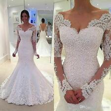 Long Sleeve Applique Mermaid Bridal Gown Wedding Dress Size 4 6 8 10 12 14 16 +