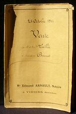 Acte notarié 1911 Edmond Arnault Vihiers Mathurin Taillée Jean Brunet BE