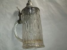Boccale da birra in vetro lavorato,capacità 0,5 lt,con coperchio in peltro