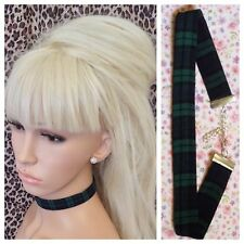 GREEN BLACK WATCH TARTAN FABRIC CHOKER NECKLACE 2cm WIDE METAL CHAIN RETRO PUNK