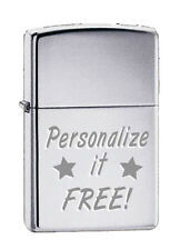 Zippo Custom Lighter Free Engraving High Polished CHROME SILVER 250 Pocket New