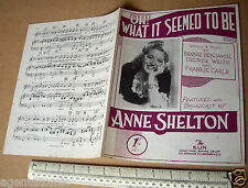 "1945 Home Front WW2 Piano Sheet Music ""Oh What It Seemed To Be"". Anne Shelton"