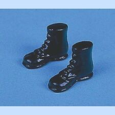Pair of Black Boots, Dolls House Miniatures, Shoes, 1.12 Scale
