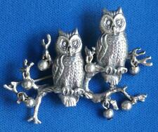 "Vintage CINI Sterling Silver Pair of Owls Pin Brooch 2"" Long"