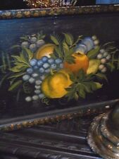 ANTIQUE OIL PAINTING Victorian tole painted still life Fruit on Old Wooden Tray