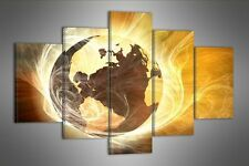 """EARTH  BRONZE ABSTRACT CANVAS WALL PICTURE SPLIT 5 PANELS FLASH ART 40"""" 28"""" 2619"""