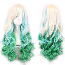 Women Lolita Long Wavy Hair Wigs Girls Cosplay Full Wigs Gold+Rainbow Green 68CM