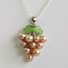 .925 Sterling Silver Plated Chain & Cultured Pearl Grapes Necklace