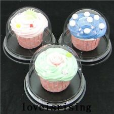 100pcs=50sets Clear Plastic Cupcake Cake Dome Favor Boxes Container Cupcake Box