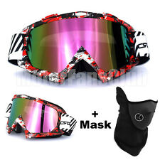 New Red Graffiti Motorcycle Helmet Motocross Off Road Goggles Glasses With Mask