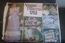 Vogue Pattern #1753 Gorgeous Misses Long Pinafore Apron & Lacy Gift Items 1970's