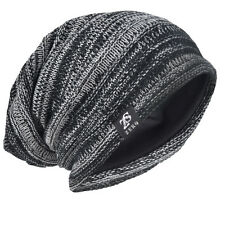 black men slouch beanie long baggy loose skull cap knit winter ski hat dt-5001