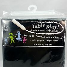"NEW Chalkboard Vinyl Tablecloth 70"" Round Write & Doodle Table Play Kids Crafts"
