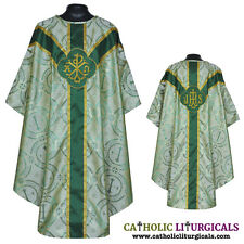 Metallic Green Clergy Gothic vestment,stole &5pc mass set chasuble,casual, casel