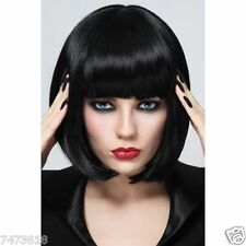 100% Real Hair!Stylish Bob Style Neat Bang Black Short Straight Women's Wig