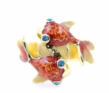 Cute enamel crystal twin goldfish charm ring
