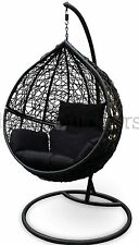 Outdoor Swing Hanging Egg/ Pod Chair - Black Wicker w Black Cushions - PRESALE