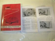 FIAT 600 D MANUALE USO E MANUTENZIONE (FOTOCOPIA )