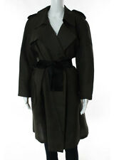 LANVIN ETE 2006 Sepia Bow Notch Collar Long Sleeve Oversize Silk Coat Sz 42