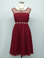 Cherlone Chiffon Red Prom Ball Evening Bridesmaid Wedding Formal Dress Size 12